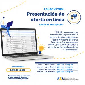 """""""Talleres virtuales para Sorteos de Obras """" @ Direccion General de Contrataciones Publicas"""